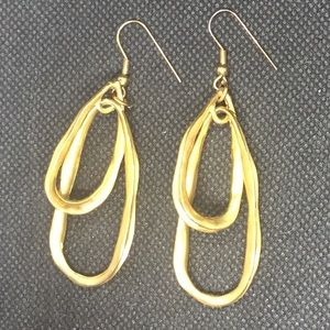 Elongated Brushed Gold Modernist Hoop Earrings